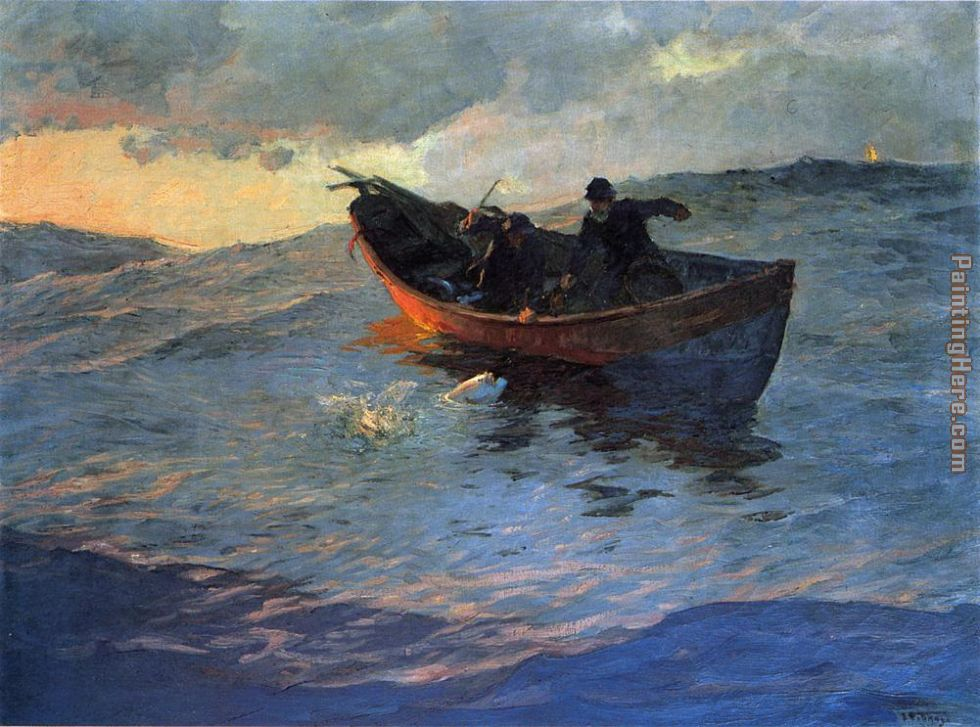 Struggle for the Catch painting - Edward Henry Potthast Struggle for the Catch art painting